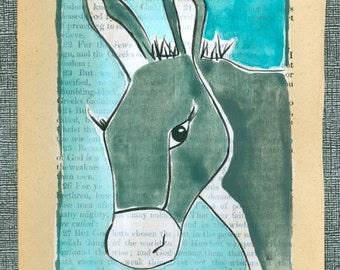 Donkey / Burro - Totem - Folk Art - Original Painting