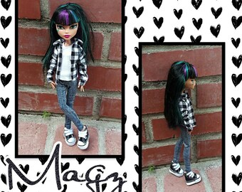 37e0eb7d5ac Flannel,t-shirt,leggings for monster dolls