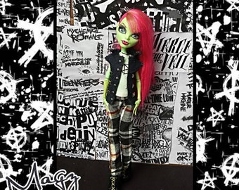 02c44ab45fb Punk outfit for monster dolls. Vest top pants