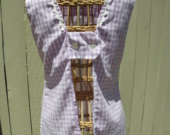 1960's Lavender gingham picnic tunic with ric rac and peeka boo back. sz.small