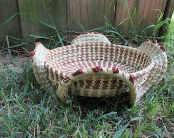 Sweetgrass Stand Basket with Love Knots