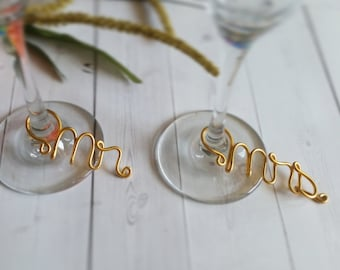 Wire Wine Charms - Rustic Wine Charms - Personalized Wine Charms - Name Wine Charm - Custom Wine Charm - Champagne Charm - Mr and Mrs