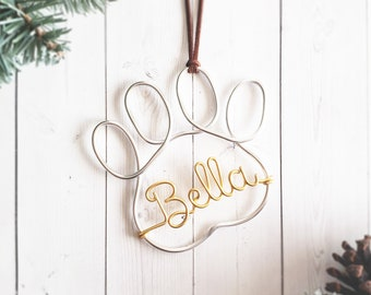 Custom Wire Paw Pet Name Ornament Personalized Dog Cat Christmas Tree Toe Beans Suede Leather Cord Modern Rustic Chic Boho Bauble Memorial