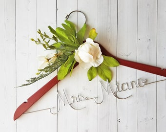 Wedding Hanger White Peony Flowers First and Last Name Personalized Hanger Custom Hanger Bridal Hanger Bride Bridal Shower Gift Bridesmaid