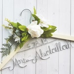 Wedding Hanger With Date and White Flowers Last Name Personalized Hanger Custom Hanger Bridal Hanger Bride Bridal Shower Gift Bridesmaid
