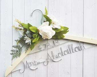 Wedding Hanger With Date and White Flowers Last Name Personalized Hanger Custom Hanger Bridal Hanger Bride Bridal Shower Gift Bridesmaid
