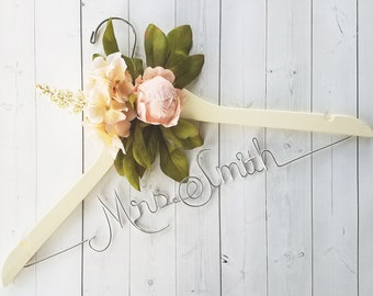Bride Hanger With Pink Peony Flowers First and Last Name Personalized Hanger Custom Hanger Bridal Hanger Bride Bridal Shower Gift Bridesmaid