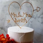 Rustic Cake Topper - Wire Cake Topper - Heart Mr and Mrs Cake Topper - Gold Cake Topper - Rustic Chic - Heart and Arrow - Barn Wedding