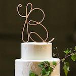 Monogram Wire Wedding Cake Topper Rustic Chic Initial Custom Personalized Anniversary Cursive Reusable Metal Industrial Elegant Simple
