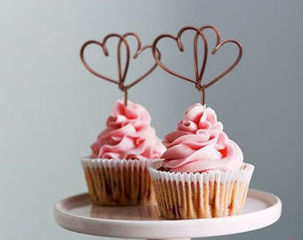 Set of 5 -  Twin Heart Cupcake Topper - Wire Cupcake Topper - Wedding - Engagement - Valentines - Anniversary - Birthday - Baby Shower