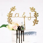 Initials with Laurel Midsummer Night's Dream Wedding Cake Topper Wire Rustic Chic Industrial Metallic Custom Personalized Reusable