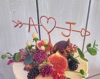 Fall Cake Topper - Rustic Cake Topper - Wire Cake Topper - Arrow & Initials Cake Topper - Personalized Cake Topper - Rustic Chic - Copper