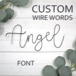 Custom Wire Words Angel Font Personalized Wall Phrase Quote Lyrics House Warming Gift Metal Bespoke Art Rose Gold Copper Gallery Anniversary