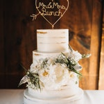 Rustic Chic Wire Wedding Cake Topper Mr and Mrs Last Name Custom Personalized Ampersand Heart Arrow Reusable Metal Industrial Copper Gold