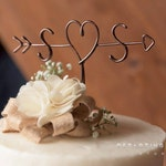 Rustic Cake Topper - Wire Cake Topper - Arrow & Initials Cake Topper - Personalized Cake Topper - Rustic Chic - Name Cake Topper - Wedding