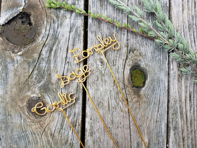 Wire Garden Markers  Rustic Garden Sign  Custom Herb Markers image 0
