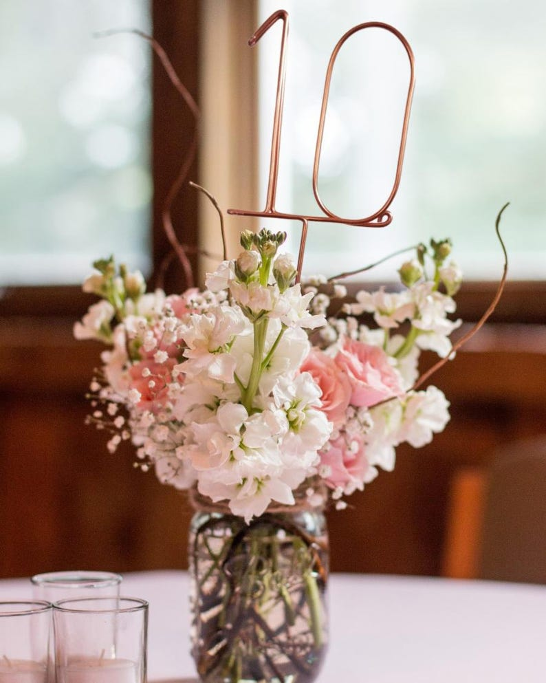 Wire Table Numbers  Rustic Wedding Table Numbers  Reception image 0