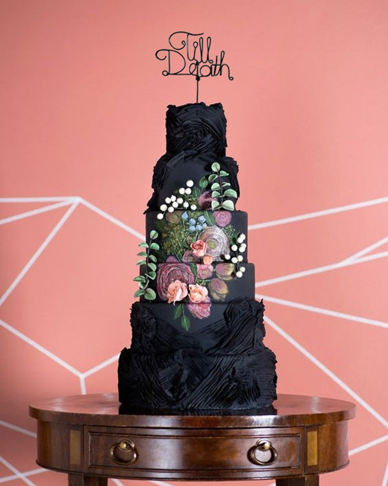 Till Death  Rustic Cake Topper  Wire Cake Topper  Gothic image 0