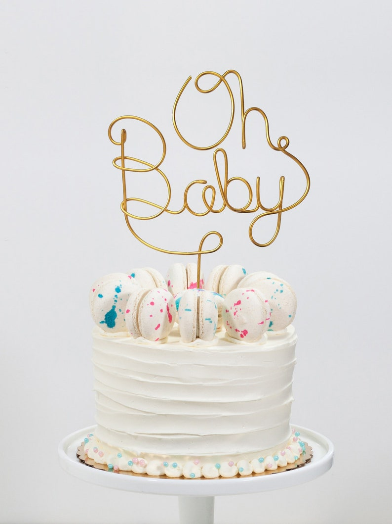 Oh Baby Cake Topper  Wire Cake Topper  Baby Shower Cake image 0