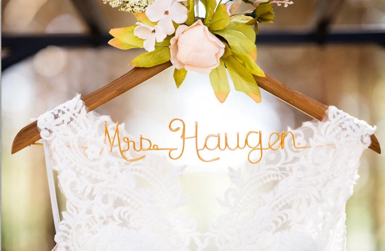 Wedding Hanger Pink Peony Flowers First and Last Name image 0