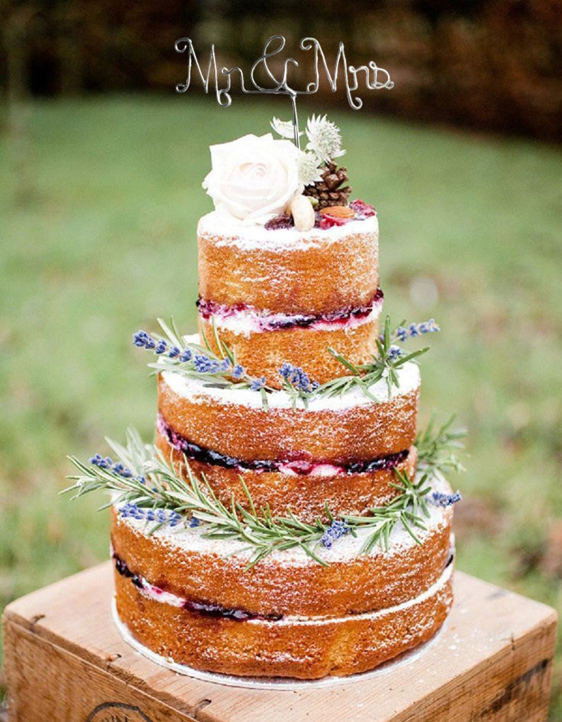Wedding Cake Topper  Wire Cake Topper  Mr and Mrs Cake image 0