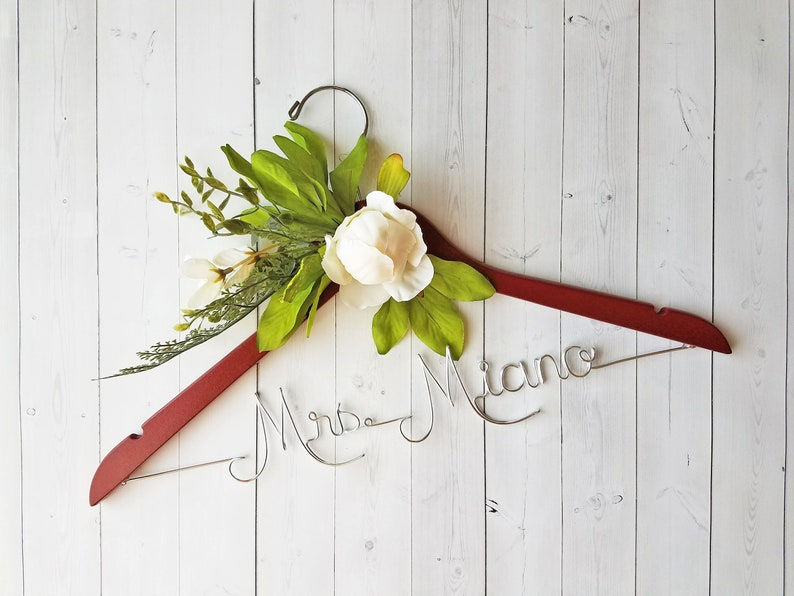 Wedding Hanger White Peony Flowers First and Last Name image 0