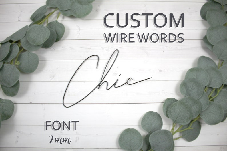 Custom Wire Words Chic Font 2mm Personalized Wall Phrase Quote image 0