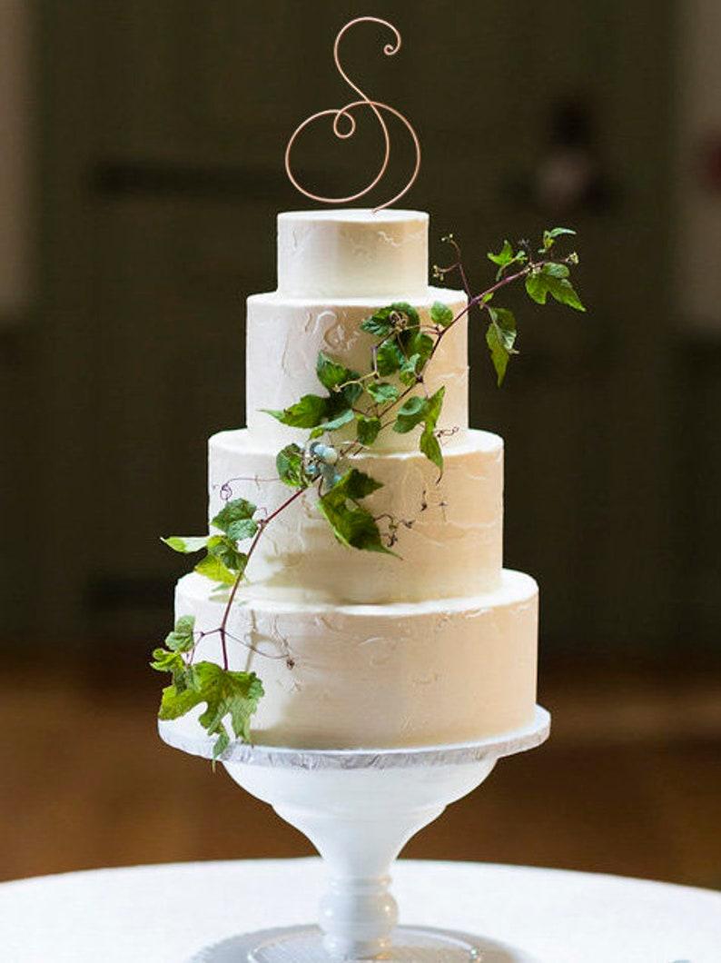 Monogram Wire Wedding Cake Topper Rustic Chic Initial Custom image 0