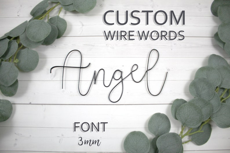 Custom Wire Words Angel Font 3mm Personalized Wall Phrase image 0