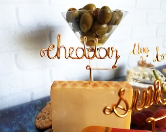 Wire Cheese Markers - Rustic Cheese Marker - Wine and Cheese - Gold - Copper - Rose Gold - Cheese Picks - Cheese Board - Cheese Tags