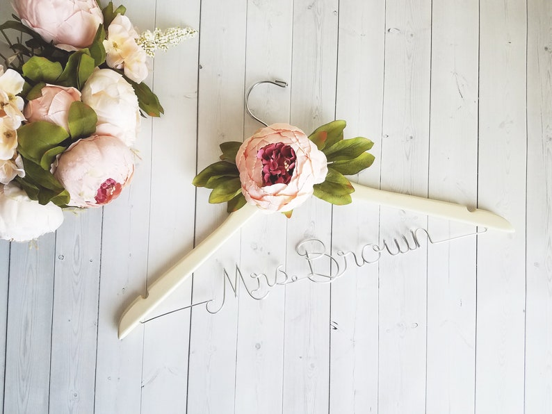 Wedding Dress Hanger With Flower  Personalized Hanger  image 0