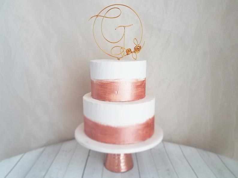 Monogram Cake Topper  Rustic Cake Topper  Wire Cake Topper  image 0