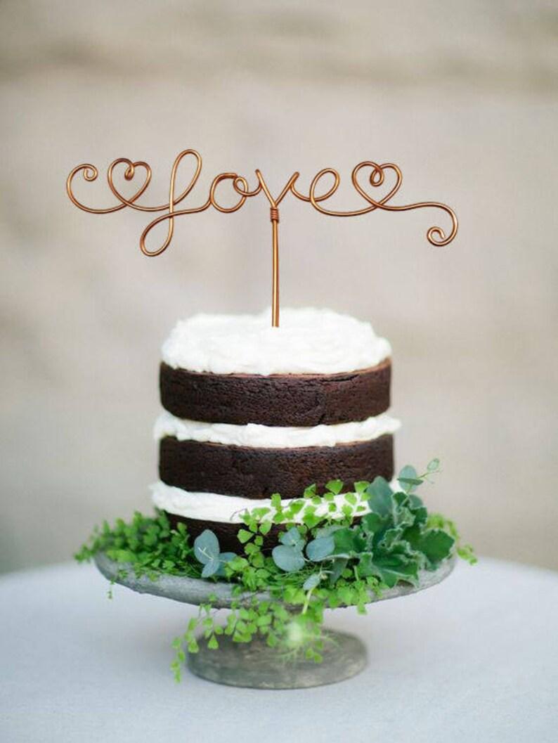 Love Cake Topper  Wire Cake Topper  Rustic Cake Topper  image 0