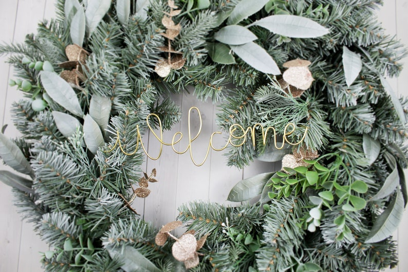 Welcome Wire Words Only for Wreath Wall Home Rustic Farmhouse image 0