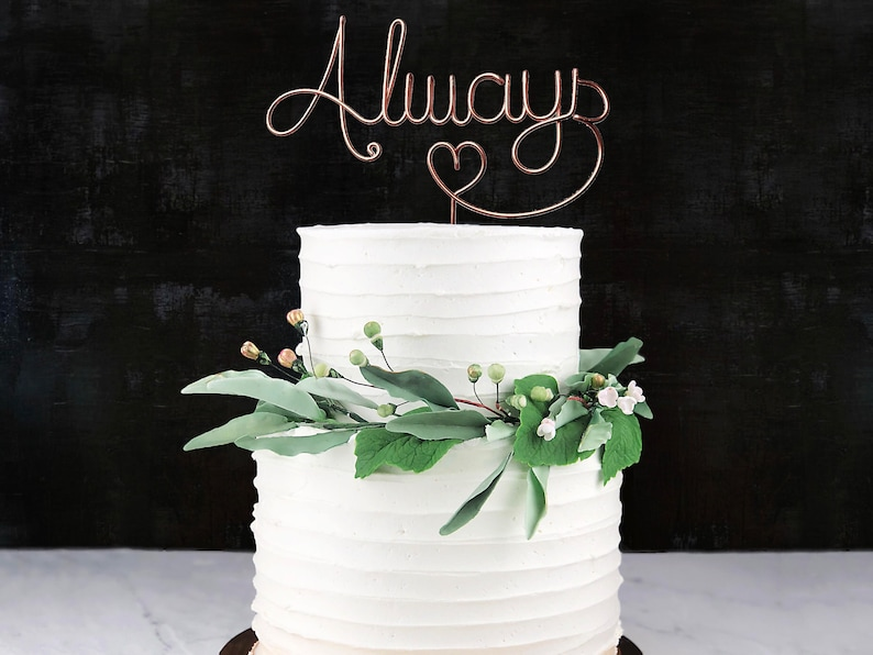 Always Rustic Cake Topper  Wire Cake Topper  Wedding Cake Copper