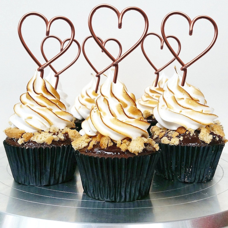 Set of 5   Heart Cupcake Topper  Wire Cupcake Topper  image 0