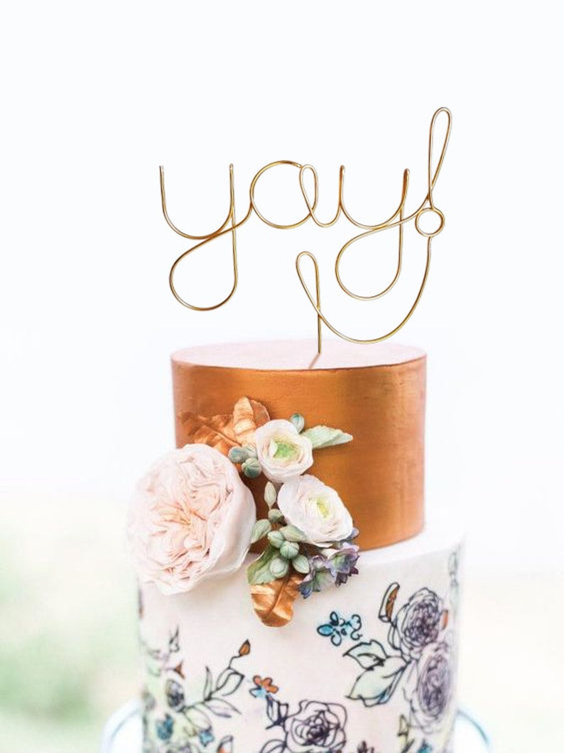 Yay Wire Cake Topper  Rustic Chic Cake Topper  Wire Cake image 0