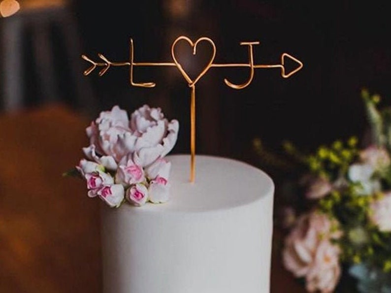 Arrow & Initials Cake Topper Rustic Wire Personalized Custom image 1