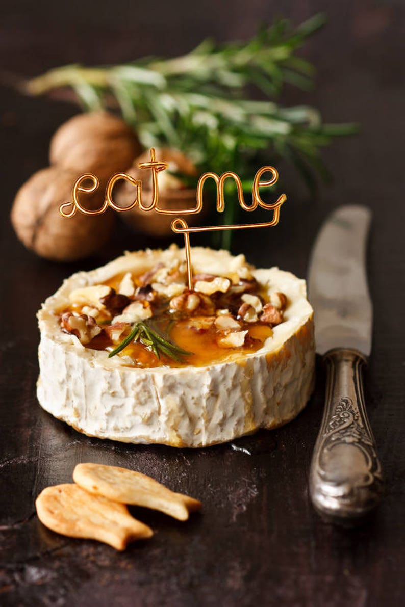 Eat Me  Wire Cheese Marker  Rustic Cheese Marker  Wine and image 0