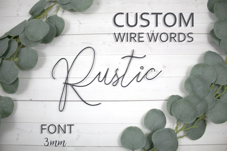 Custom Wire Words Rustic Font 3mm Personalized Wall Phrase image 0