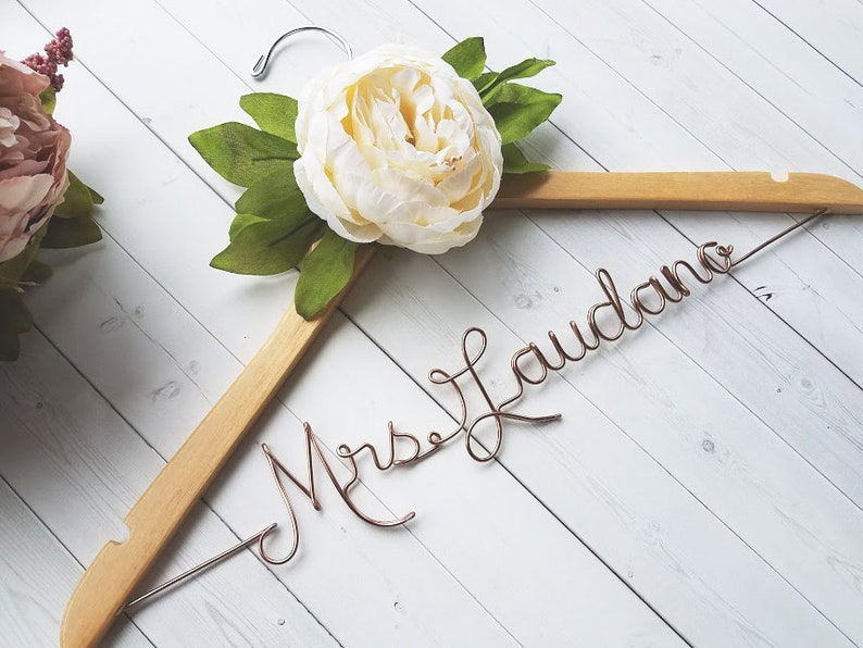 Wedding Dress Hanger With White Peony  Personalized Hanger  image 0