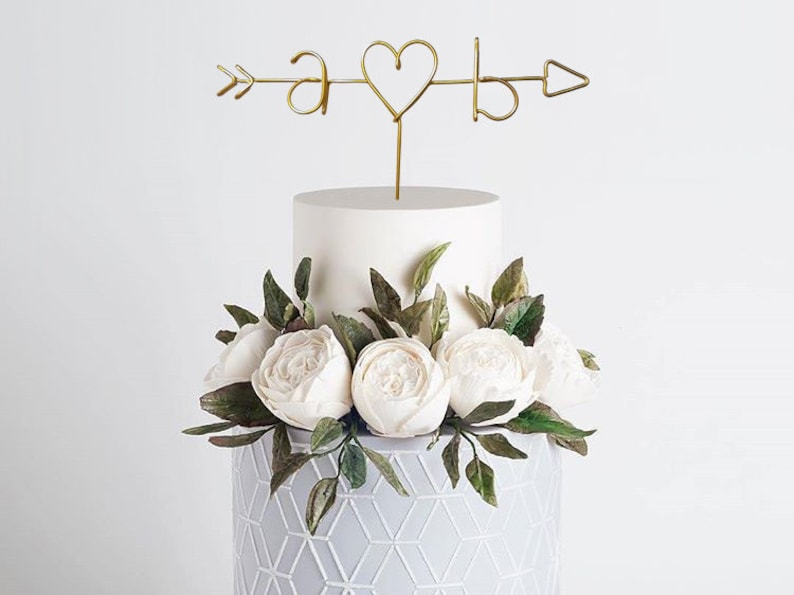 Arrow and Initials Wire Cake Topper  Rustic Cake Topper  image 0