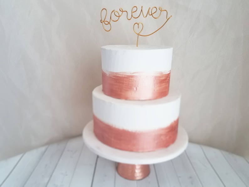 Forever Wire Cake Topper  Rustic Cake Topper  Wire Cake image 0