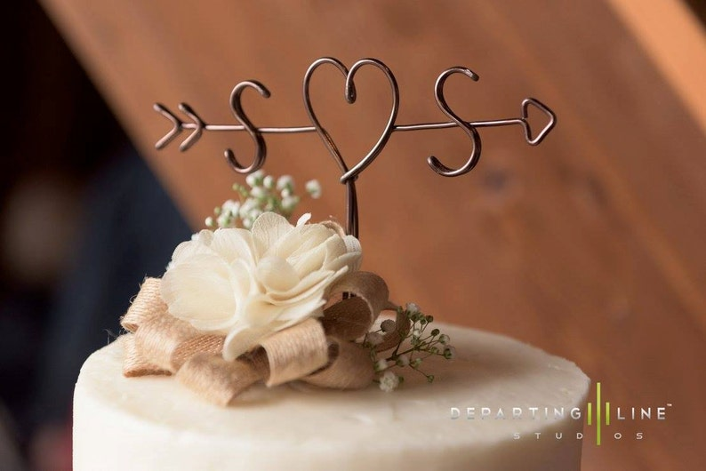 Rustic Cake Topper  Wire Cake Topper  Arrow & Initials Cake image 0