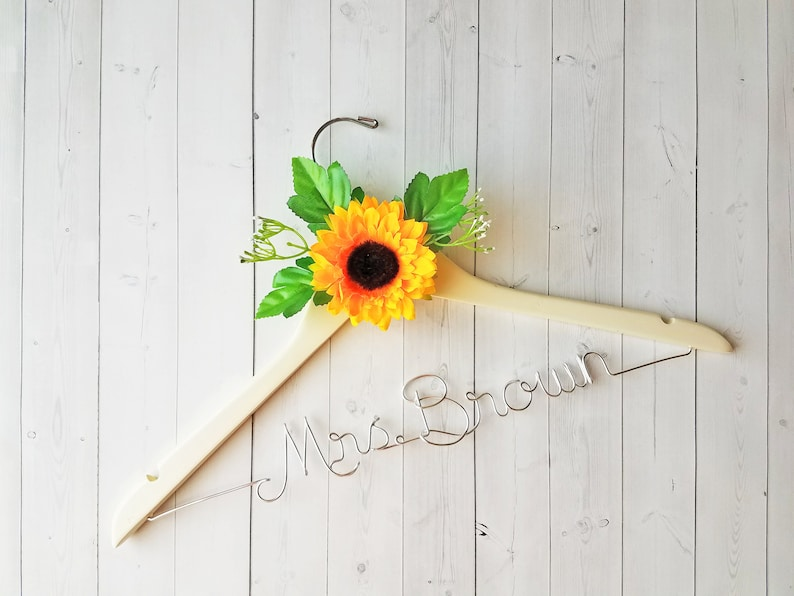 Wedding Hanger With Sunflower First and Last Name Personalized image 0