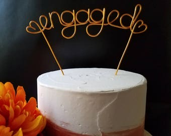 Rustic Cake Topper - Wire Cake Topper - Engaged Cake Topper - Wedding Cake Topper - Rustic Chic - Gold Cake Topper - Engagement Cake Topper