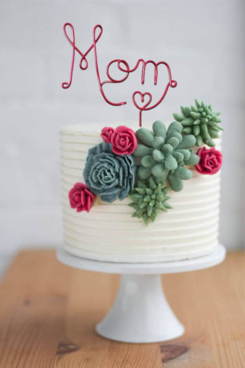 Wire Mom Cake Topper  Mom Cake Topper  Red Cake Topper  image 0