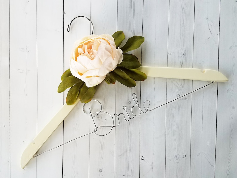 Bride Hanger With White Peony Flowers First and Last Name Wood image 0