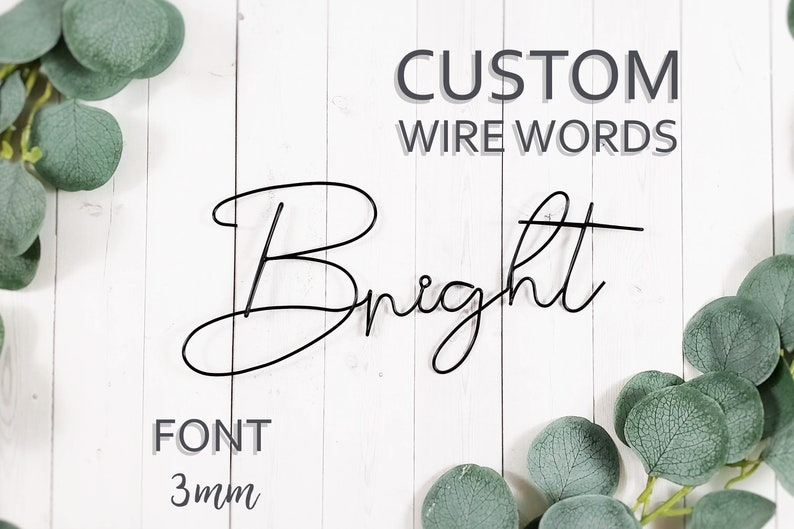 Custom Wire Words Bright Font 3mm Personalized Wall Phrase image 0