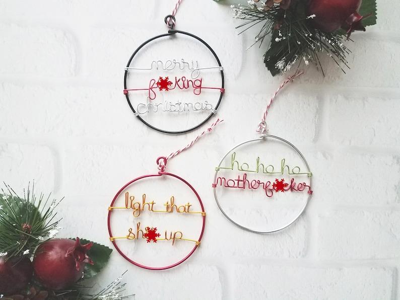 Mature Ornament Set of 3  Ho Ho Ho Motherfucker  Merry image 0